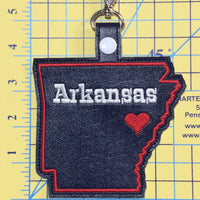 Arkansas state snap tab - DIGITAL DOWNLOAD - In The Hoop Embroidery Machine Design - key fob - keychain - luggage tag