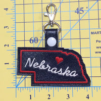 Nebraska state snap tab - DIGITAL DOWNLOAD - In The Hoop Embroidery Machine Design - key fob - keychain - luggage tag