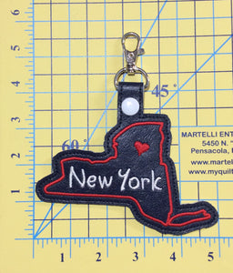 New York state snap tab - DIGITAL DOWNLOAD - In The Hoop Embroidery Machine Design - key fob - keychain - luggage tag
