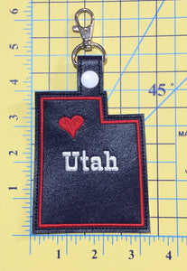 Utah state snap tab - DIGITAL DOWNLOAD - In The Hoop Embroidery Machine Design - key fob - keychain - luggage tag