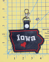 Iowa state snap tab - DIGITAL DOWNLOAD - In The Hoop Embroidery Machine Design - key fob - keychain - luggage tag