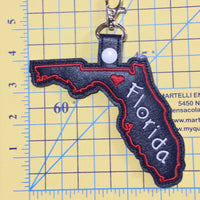 Florida state snap tab - DIGITAL DOWNLOAD - In The Hoop Embroidery Machine Design - key fob - keychain - luggage tag