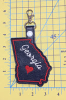 Georgia state snap tab - DIGITAL DOWNLOAD - In The Hoop Embroidery Machine Design - key fob - keychain - luggage tag