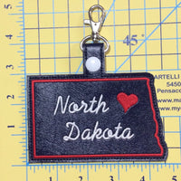 North Dakota state snap tab - DIGITAL DOWNLOAD - In The Hoop Embroidery Machine Design - key fob - keychain - luggage tag
