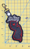 New Jersey state snap tab - DIGITAL DOWNLOAD - In The Hoop Embroidery Machine Design - key fob - keychain - luggage tag