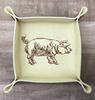 "DIGITAL DOWNLOAD - In The Hoop Embroidery Machine Design - 7"" x 7"" PIG / Pork Snap Tray - Valet Tray - Travel Tray"