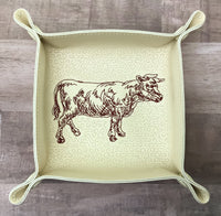 "DIGITAL DOWNLOAD - In The Hoop Embroidery Machine Design - 7"" x 7"" BULL / Beef Snap Tray - Valet Tray - Travel Tray"