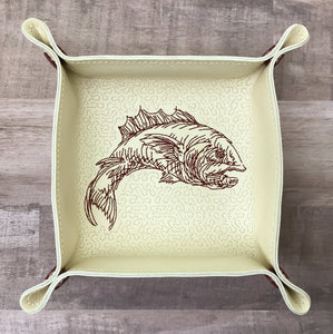 "DIGITAL DOWNLOAD - In The Hoop Embroidery Machine Design - 7"" x 7"" FISH Snap Tray - Valet Tray - Travel Tray"