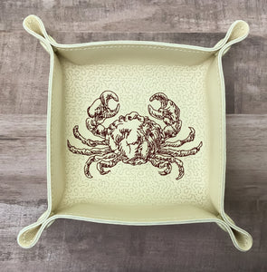 "DIGITAL DOWNLOAD - In The Hoop Embroidery Machine Design - 7"" x 7"" CRAB / Seafood Snap Tray - Valet Tray - Travel Tray"
