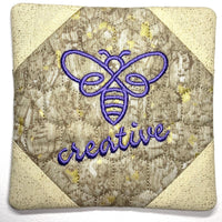 CLASS KIT for Embroidery Garden 'Bee Coaster Set' - includes fabric and batting for ONE coaster - kit does not include files or instructions