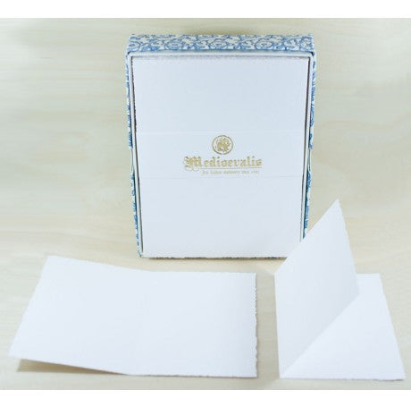 208L Medioevalis Deckled Edge White Folded Cards