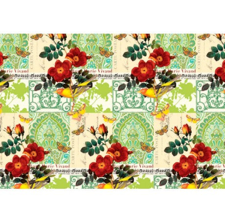 Yellow Bird and Red Flower Gift Wrap