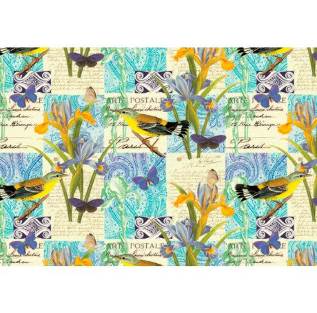 Yellow Bird on Blue Gift Wrap