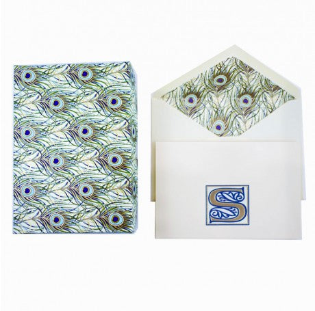 INITIAL MONOGRAM BOXED STATIONERY SET - S