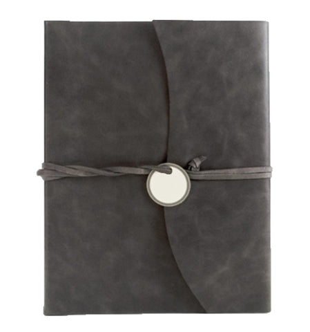 AMALFI REFILLABLE LEATHER JOURNAL LARGE - GREY