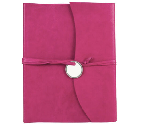 AMALFI REFILLABLE LEATHER JOURNAL LARGE - HOT PINK