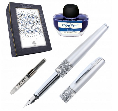 Gift Set Fountain Pen Crystal Celebrities - Silver