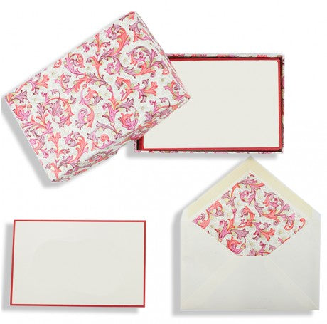 Florentine Red Folded Cards Stationery Set