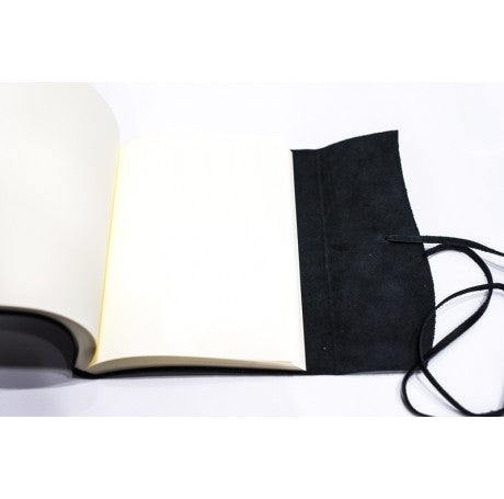 AMALFI REFILLABLE LEATHER JOURNAL MEDIUM - BLACK