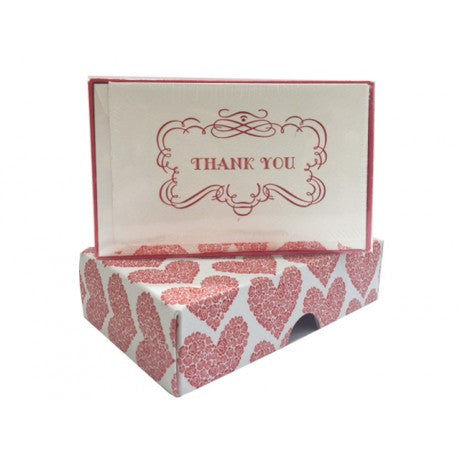Red Heart Letterpress Thank You Cards Set