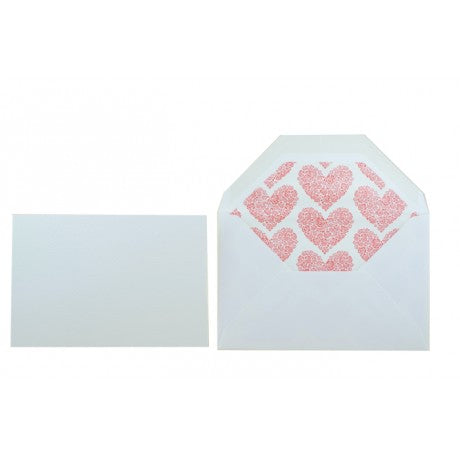 Red Hearts Letterpress Correspondence Cards Set