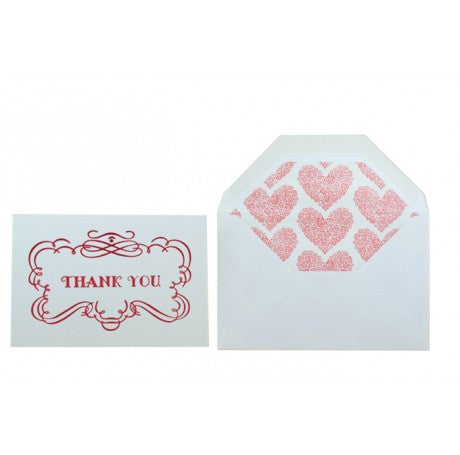 Red Hearts Letterpress Thank You Cards Set