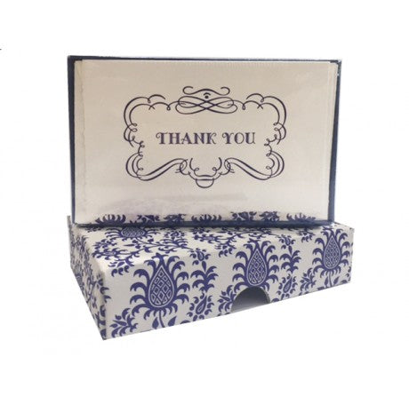 Blue Pineapple Letterpress Thank You Cards Set