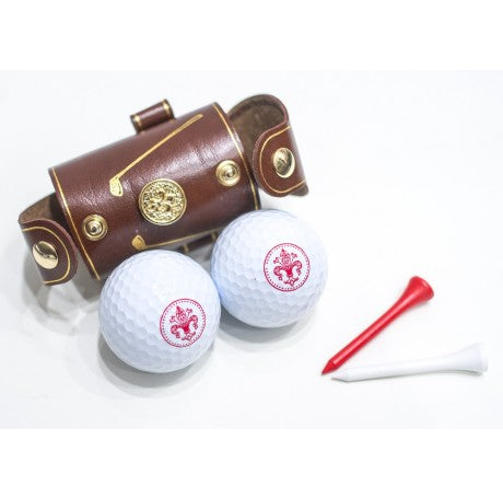 LEATHER GOLF BALL HOLDER - BROWN