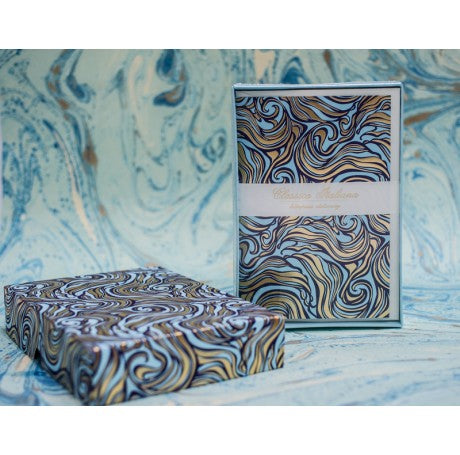 Letterpress Folded Cards Stationery Set - Blue & Gold