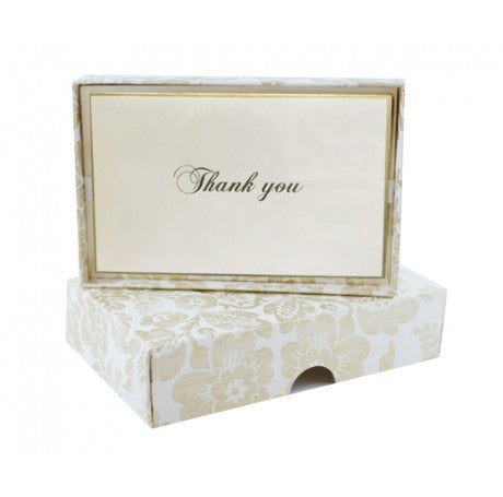 Gold Brocade Thank You Cards Set