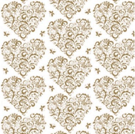 Gold Hearts Gift Wrap