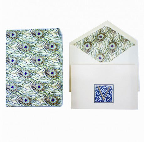 Initial Monogram Boxed Stationery Set - V