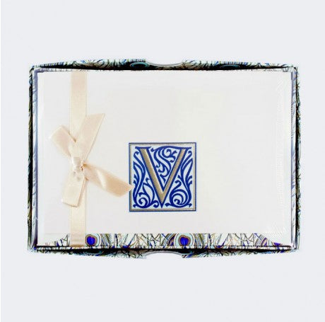 Initial Monogram Boxed Stationary Set - V