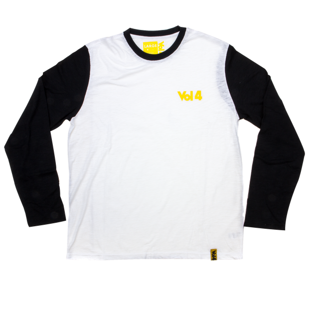 Vol4 Logo Long Sleeve White/Black Slub
