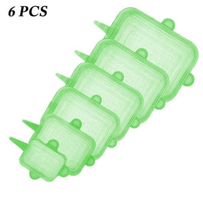 6pcs Reusable Elastic Silicone Food Cover
