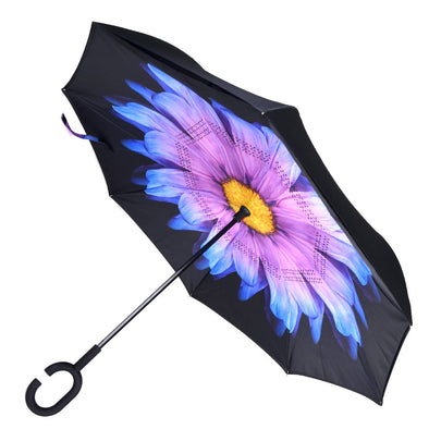 Purple and Blue Flower Double Layer Inverted Umbrella