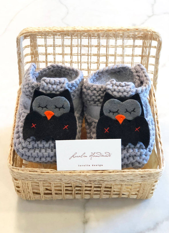 Owl Booties in Basket