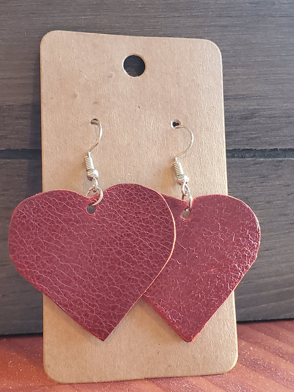 VRB Red Heart leather earrings