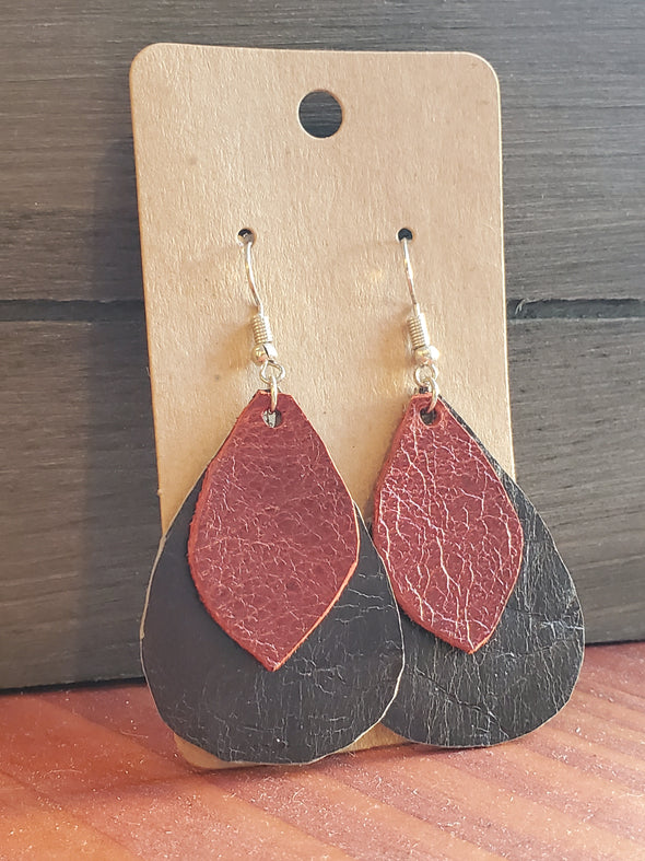 VRB Red and Black leather earrings