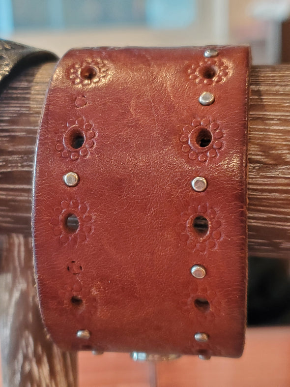VRB Brown Small Hole Punched Leather Bracelet