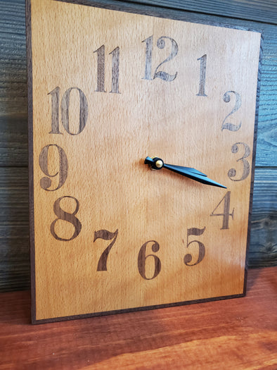 Curly Beech & Walnut Clock