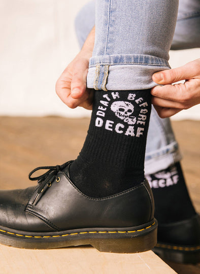 Death Before Decaf Coffee Crew Socks