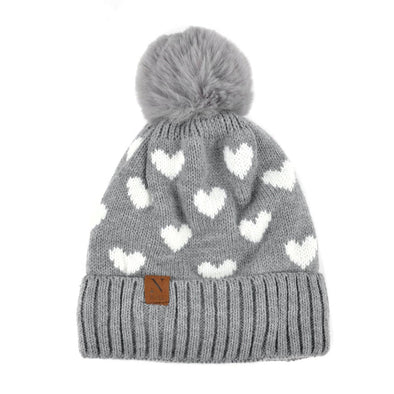 Women's Hearts and Pom Pom Knit Winter Hat