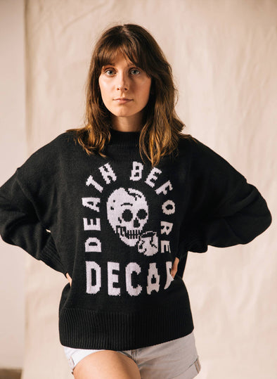 Death Before Decaf Coffee Women's Knit Pullover Sweater