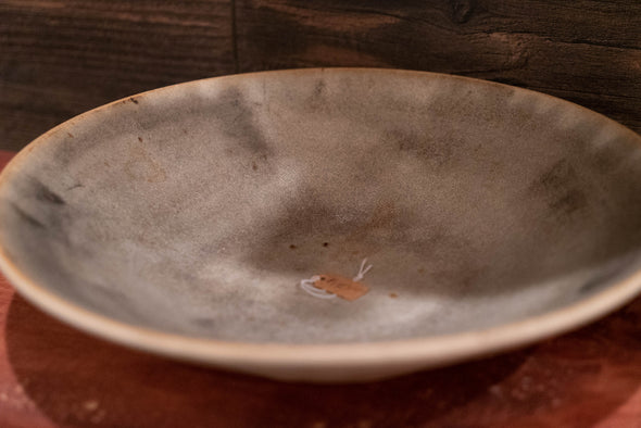 Wide Gray Ceramic Bowl