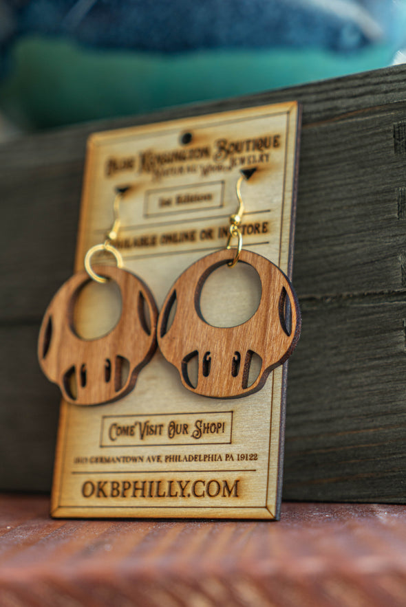 Natural Wood Mario Mushroom Earrings