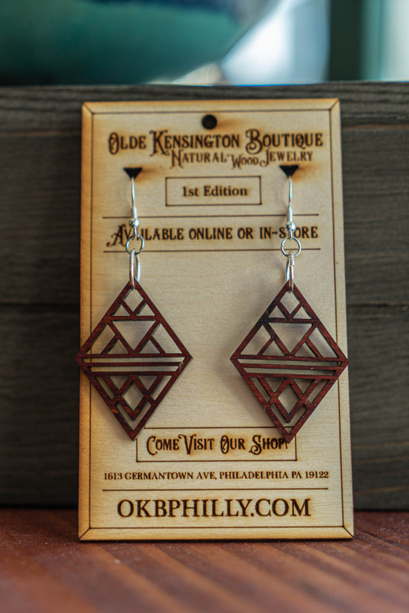 Natural Wood Geometric Diamond Earrings