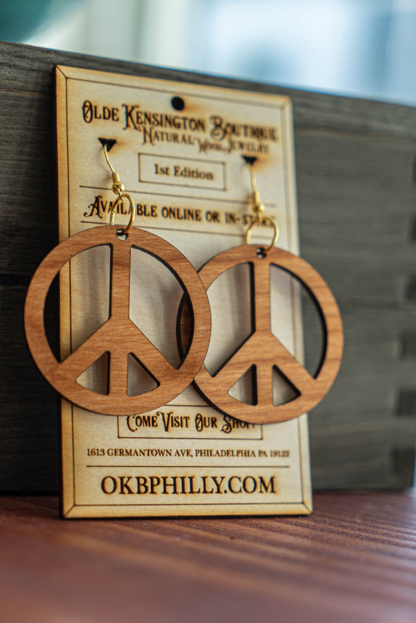 Natural Wood Peace Sign Earrings