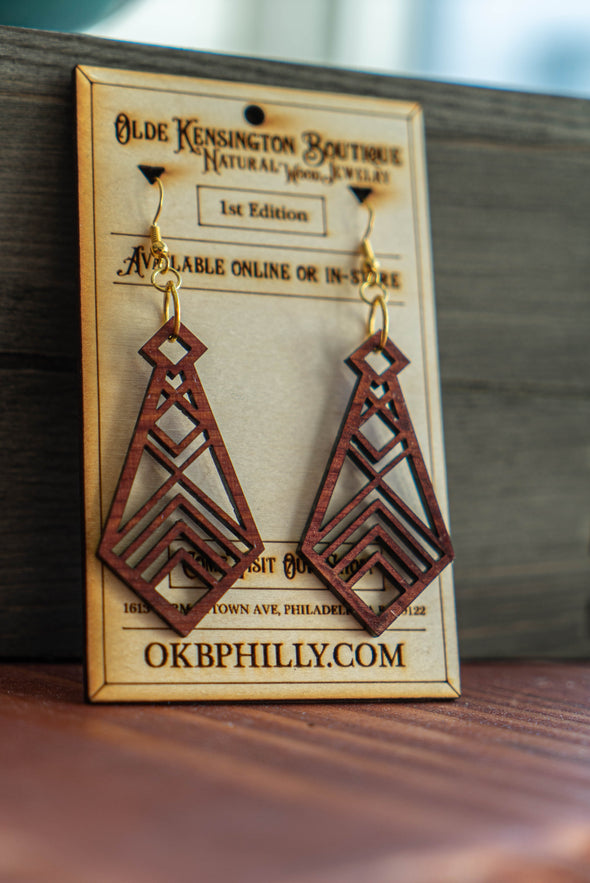 Natural Wood Geometric Formal Tie Earrings
