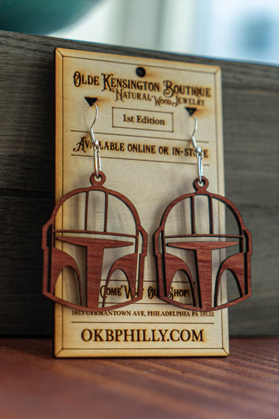 Natural Wood Mandalorian Mask Earrings